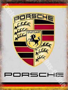 Porsche Car Badge 147 Vintage Garage Motorsport Racing Old Large Metal/Tin Sign