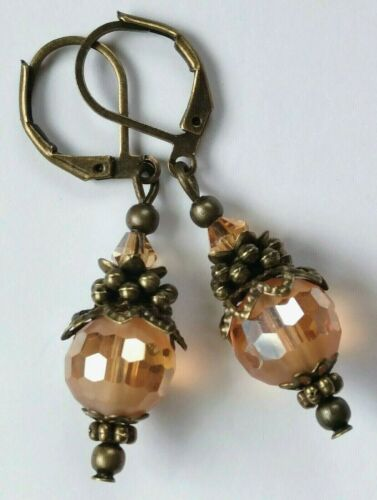 YELLOW TOPAZ CHINESE Crystal earring BRONZE LEVERBACK handcrafted