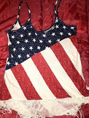 NAUGHTY SEXY WOMAN HALLOWEEN COSPLAY COSTUME SPAGHETTI SHIRT TOP USA FLAG  (Flag Halloween Costume)