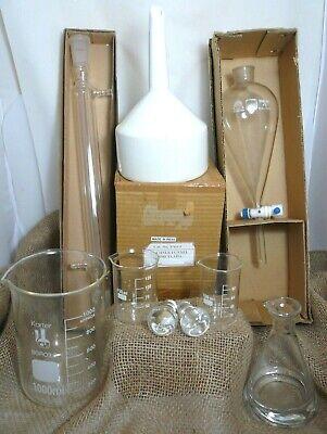 Mixed Lot Lab Glass Ware Equipment Separator Distillation Tube Beakers Funnel