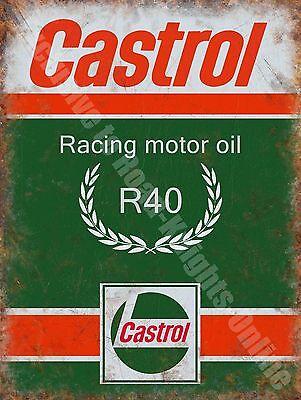 Castrol R Racing Motor Oil, 135 Petrol Old Vintage Garage, Large Metal/Tin Sign