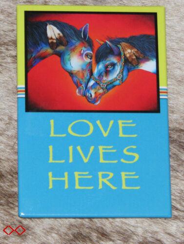 "LEANIN TREE ""LOVE LIVES HERE""~Friendly Horses~#67244 Magnet~Art Micqaela Jones"