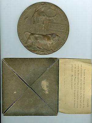 WW1 British 1915-1916 DEATH Plaque, Canadian Infantry, 15th Battalion w/Holder