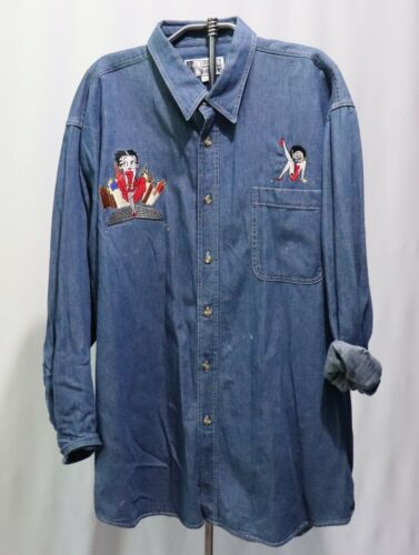 Vintage Betty Boop Denim Shirt Top Blouse XL