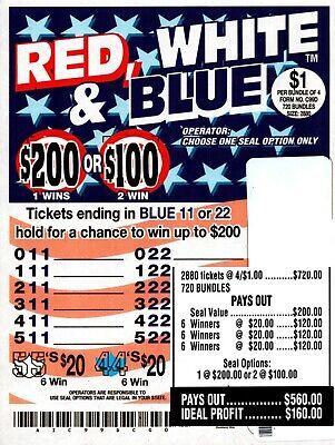 JAR TICKETS!!! 2880ct 4's RED WHITE & BLUE Bingo Pull Tab Tip Board ($200)