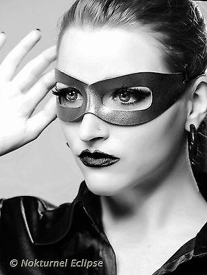 Halloween Geek Costume (Sleek Black Leather Mask Halloween Cosplay Superhero Masquerade Geek)