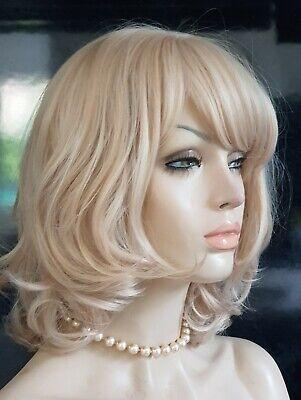 Perücke blond platinblond wie Echthaar Perücken Wig mittellang (Mittellang Blonde Perücken)