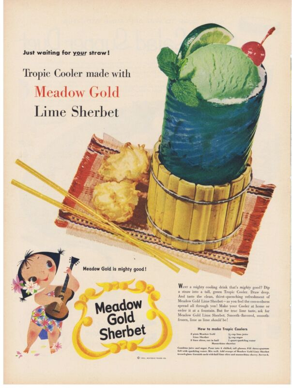 1954 Mary Blair Meadow Gold Lime Sherbet hula girl with ukelele Print Ad