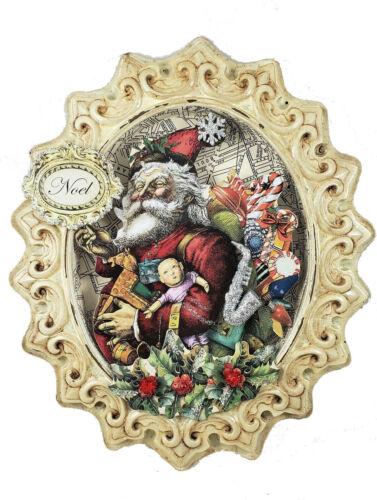 "Victorian Santa Claus 3d Christmas 12"" ornament  Ephemera Antique Chic NOEL"