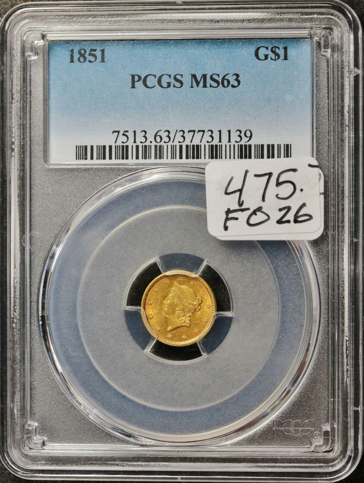 1851 CALIFORNIA GOLD DOLLAR.  IN PCGS HOLDER.  MS 63   F026