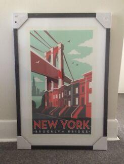 New York Brooklyn Bridge Print 60cm x 90cm Yarraville Maribyrnong Area Preview