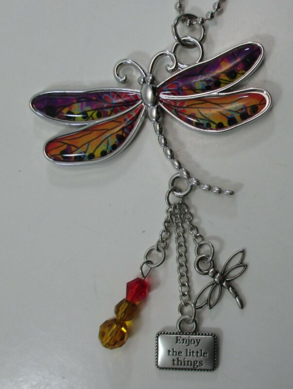 zzw Enjoy little things LIVE with gratitude DRAGONFLY CAR MIRROR CHARM ORNAMENT