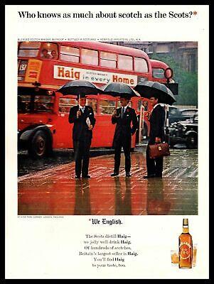 1965 Haig & Haig Scotch Hyde Park London England Double Decker Bus Rain Print Ad