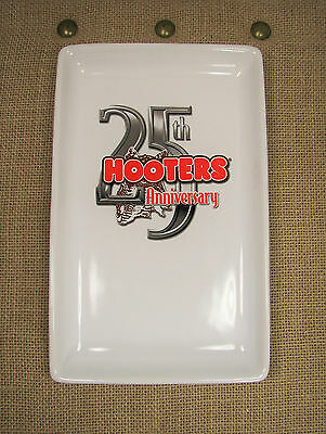 Hooters Restaurant 25th Anniversary Owl Logo White Collectible Plate Tray #4230