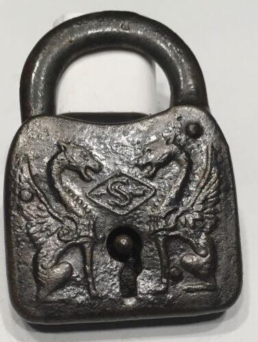 OLD ANTIQUE LOCK = DOUBLE DRAGON - GRIFFIN OR  DEVIL PADLOCK NO KEY