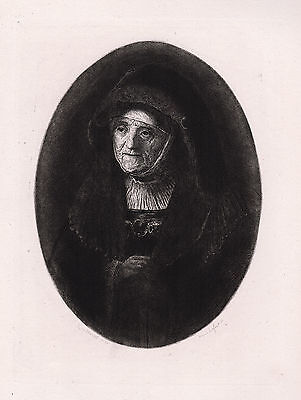 "1800s REMBRANDT Antique Etching ""Portrait of an Old Lady"" SIGNED Framed COA"
