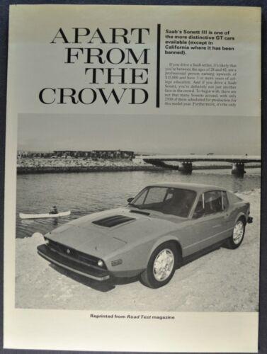 1974 Saab Sonett III Road Test Sales Brochure Folder Excellent Original 74