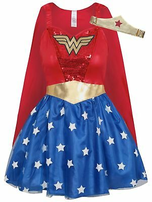 Adult DC Comics Red Wonder Woman Fancy Dress Costume Size 8-10 12-14 16-18 - Wonder Red Kostüm