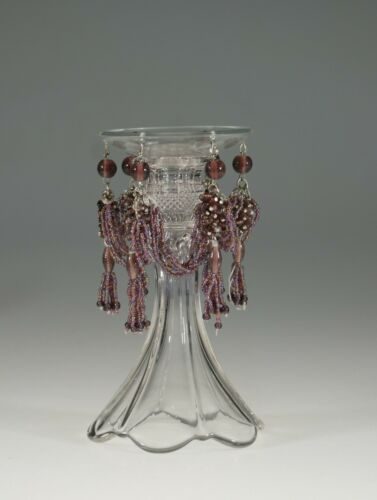 Vintage Czech Glass Amethyst Candle Bobeche with Glass Beads c.1920