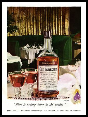1947 Old Forester Bourbon Whiskey MCM Restaurant Booth Table Vintage Print Ad