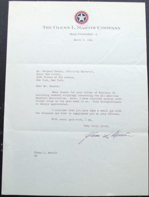 Glenn L. Martin Aviation Pioneer & Airplane Manufacturer Signed Letter Uncommon