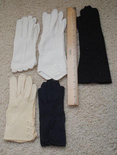 Vintage Lot Gloves Evening Formal Dress Opera White Black Blue