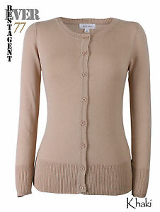 Ever77 Women's Crew Neck Knit Top Sweater Long Sleeve Cardigan/USA/S,M,L,Plus