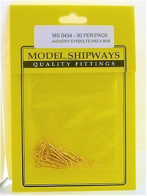 Model Shipways Fittings MS 0434 Jackstay Eyebolts 3/32 X 9/16 30 Per Pack. NEW