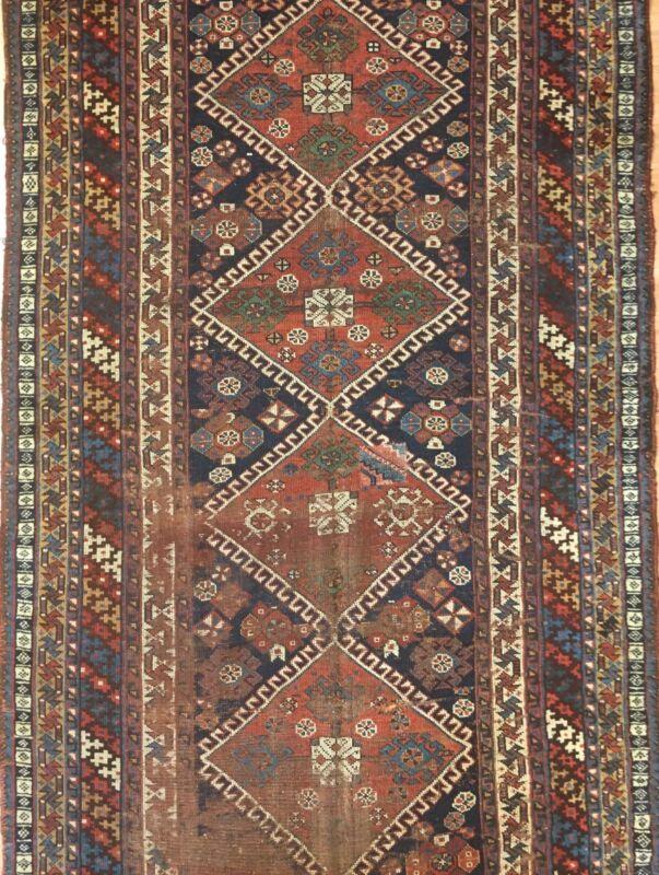 Quality Qashqai - 1880s Antique Shiraz Rug - Tribal Persian Runner 4 X 10.6 Ft.