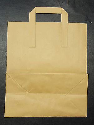 50 SMALL SOS BROWN KRAFT PAPER CARRIER BAGS 180 x 215 x 95mm (approx)