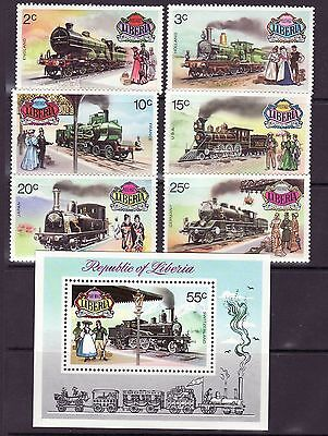 Liberia # 629-348 C197 MNH Complete 1973 Locomotive Set Train