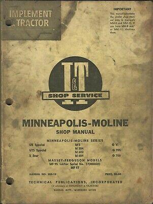 It Minneapolis-moline Ub Uts 5 Star M5 M504 M602 M604 Gvi G705 G706 Shop Manual