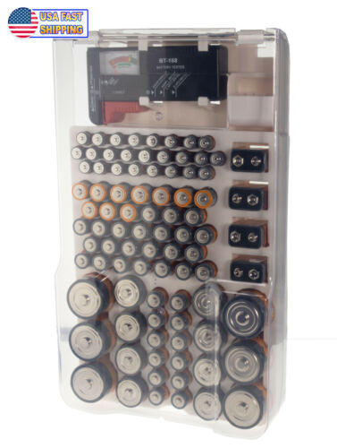 Battery Organizer Storage Case Holder Caddy Wall Mount 93 Batteries W Tester