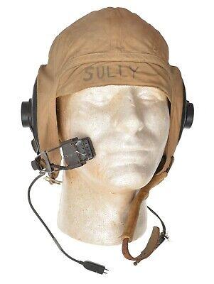 WWII USN Navy Khaki Summer Flight Pilot Helmet ANB-H-1A Receivers M