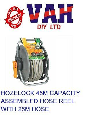 Hozelock 45m Assembled Garden Hose Reel & 25m Hose Pipe + Fittings 2431