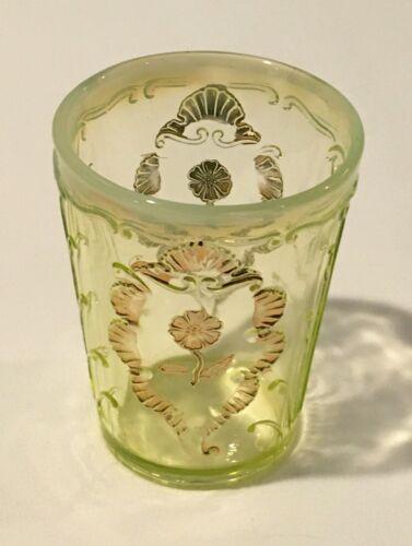 "Antique Northwood Vaseline Glass 4"" Tumbler, Carnelian/Everglades Yellow w/ Gold"