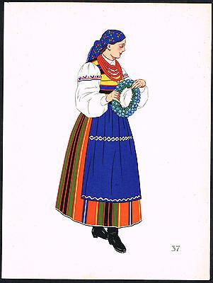 1930s Vintage Poland Lowicz European Polish Woman's Clothing Pochoir Art Print