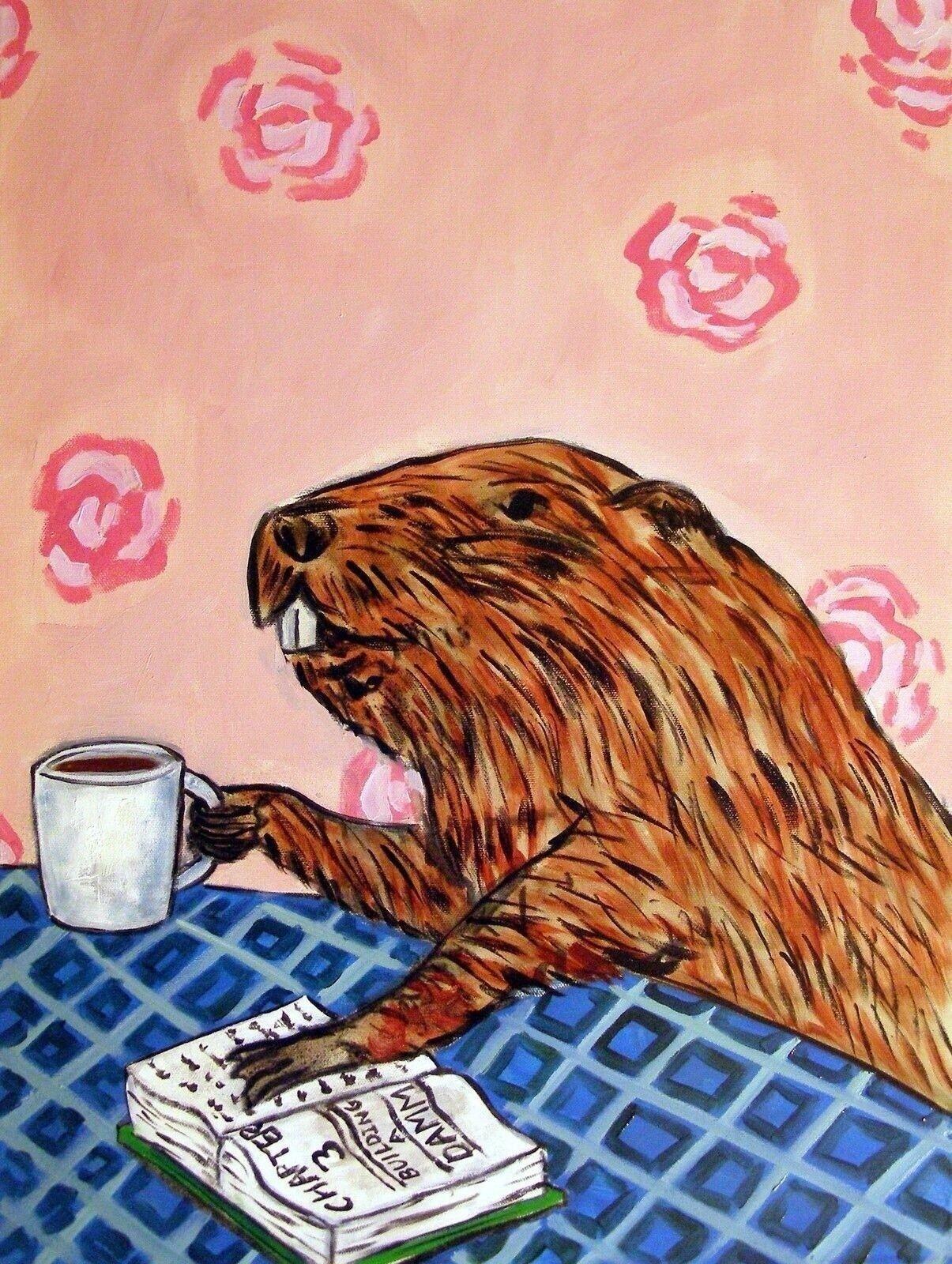 ARMADILLO at the coffee shop cafe  animal art print 11x14 gift artwork