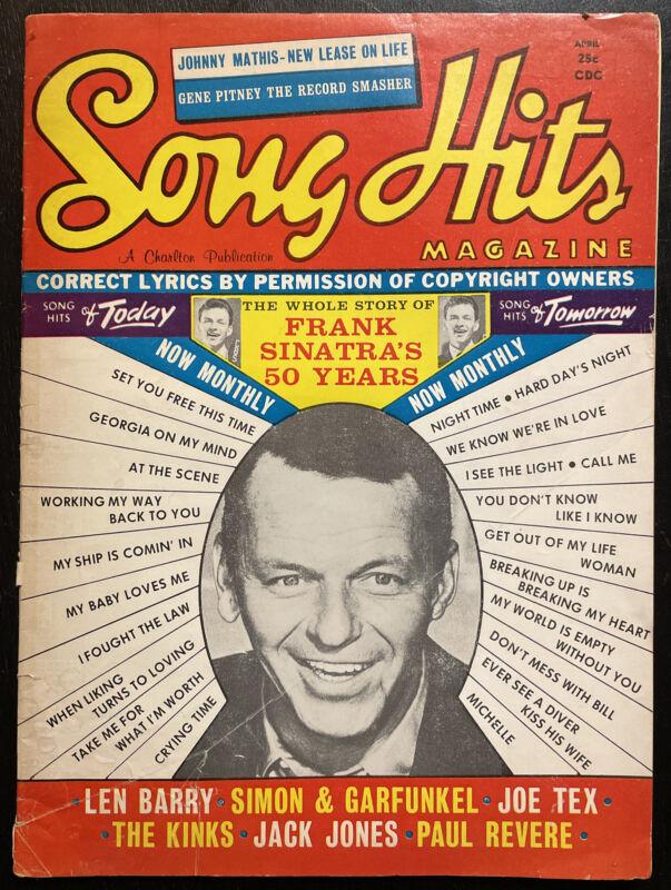 VINTAGE Song Hits Magazine April 1966 - 25¢ Sinatra - Kinks - Simon & Garfunkel
