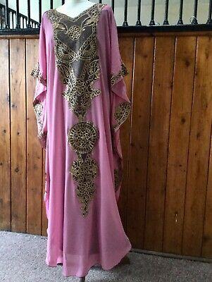 Arabian Kaftan Bohemian dress abaya plus size dress pink summer dress S to XXXL