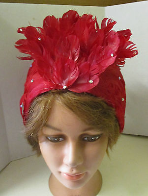 Vintage Ladies Scarlet Red Feather & Rhinestone Cap / Hat
