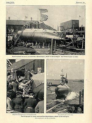 """Stapellauf US-U-Bootes """"Shark"""" in Elizabethport Historische Aufnahme von 1901"""