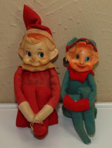 Vintage Xmas Decor Lot of 2 Plastic & Felt KNEE HUGGER Pixie ELVES Red & Green