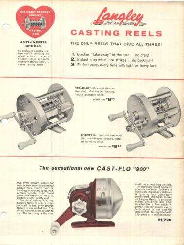 VTG 1957 LANGLEY FISHING REEL ADVERTISING SHEETS & ILLUSTRATED PARTS CATALOG!