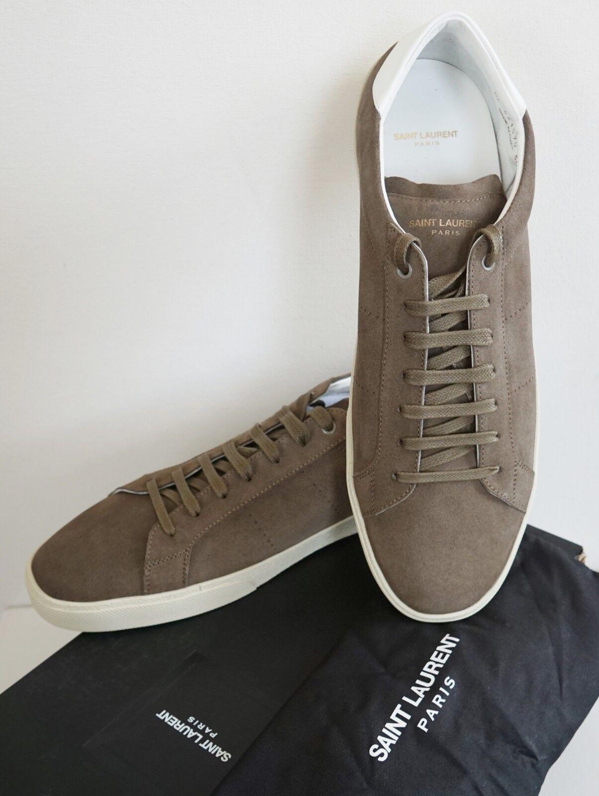 SAINT LAURENT SL06 SUEDE SOHO MILITARY KHAKI LowTop Sneakers Shoes EUR50 US17