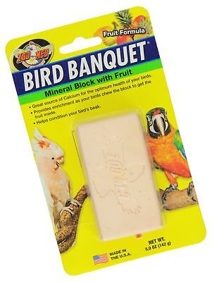 Zoo Med Mineral Block with Fruit Banquet Bird Food, 5-Ounce