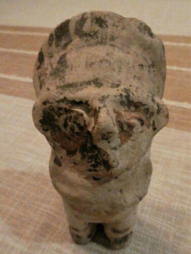 Pre Columbian Mayan Incan Pottery Standing Man with Headdress Figure Peruvian