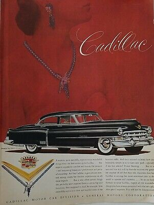 1952 black Cadillac sedan car Harry Winston Jewels jewelry vintage ad as is