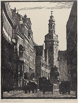 Paul Hartmann: Katharinenstrasse in Leipzig, Linolschnitt 1914