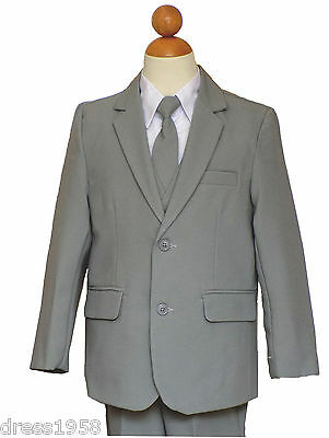 Boys Toddler,Teen Ring Bearer Recital,Graduation,Light Gray/White Suit 2T to14 (Ring Bearer Suit)